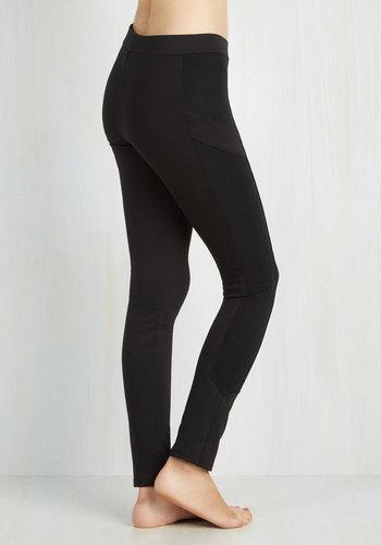 Trek and See Leggings in Black - Knit, Black, Solid, 90s, Vintage Inspired, Skinny, Mid-Rise, Ankle, Work, Lounge