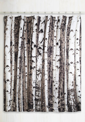 Beyond the Grove Shower Curtain in Birch by Kikkerland - Multi, Rustic, Good, Novelty Print, Fall
