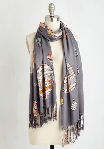 Cappadocia Dawn Scarf - Blue, Multi, Good, Cotton, Woven, Novelty Print, Casual