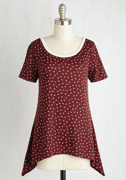 By and Lodge Top in Burgundy Dots