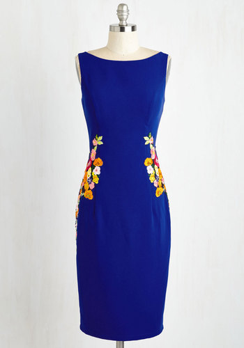 Cheerily Beloved Sheath Dress - Blue, Solid, Embroidery, Cocktail, Sheath, Sleeveless, Woven, Better, Long, Top Rated, Party, Work, Daytime Party, Graduation, Wedding Guest, Saturated