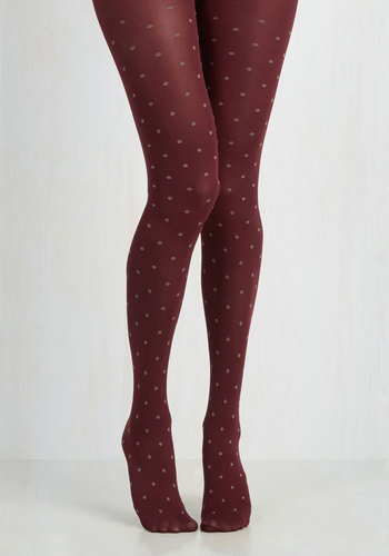 Spot of Spontaneity Tights in Cranberry