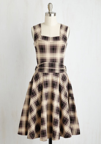 Guest of Honor Dress in Muted Plaid $94.99 AT vintagedancer.com