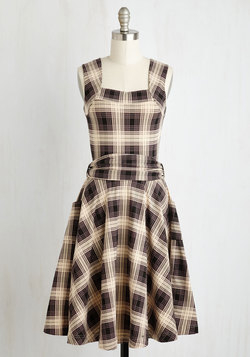 Guest of Honor Dress in Muted Plaid