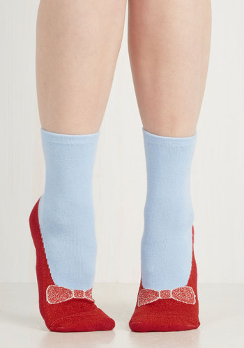 Day Slipper Socks - Blue, Casual, Red, Bows, Fairytale, Knitted, Statement, Best Seller, Under $20, Quirky