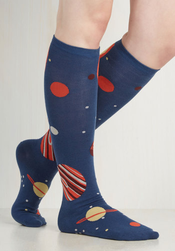 Galaxy Me Shine Socks - Blue, Multi, Casual, Cosmic, Good, Knit, Novelty Print, Fall, Winter, Top Rated
