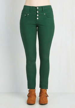 Karaoke Songstress Jeans in Forest Green