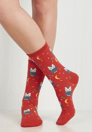 Owl-Inclusive Socks - Multi, Print with Animals, Owls, Knitted, Halloween, Quirky, Critters, Woodland Creature, Top Rated