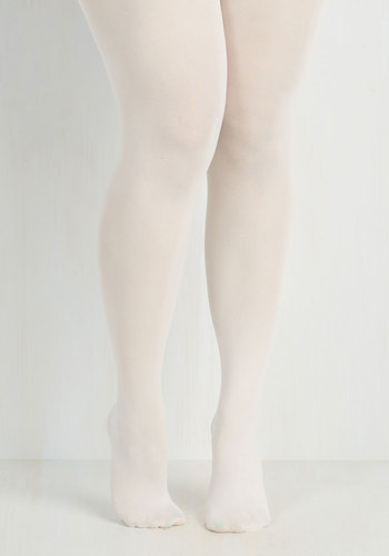 Seize the Day Tights in White - Extended Size by Look From London - White, Sheer, Variation, Fall, Winter
