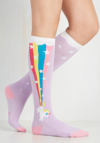 The Power of Magic Socks - Purple, Multi, Print with Animals, Pastel, Quirky, Knit, Casual, Kawaii, 90s, Fairytale, Fall, Winter