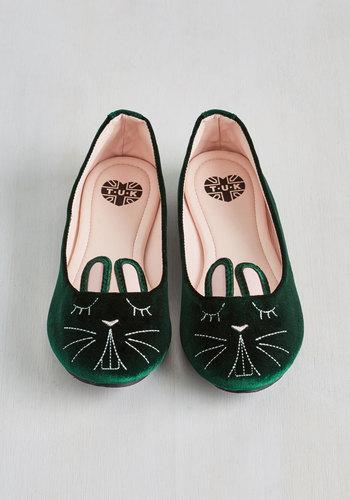 Furry Up Were Dreaming Flat in Emerald Velvet $64.99 AT vintagedancer.com