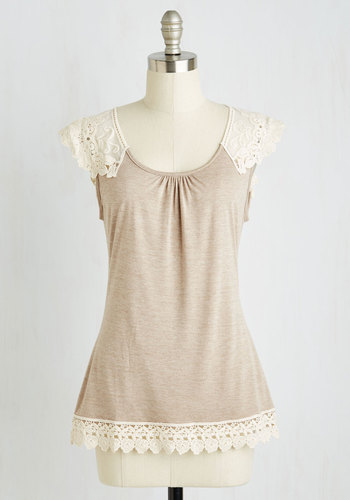 Grace and Lace Top in Sand - Sheer, Knit, Tan, Solid, Crochet, Lace, Cap Sleeves, Festival, Spring, Summer, Mid-length, Brown, Short Sleeve, Lace, Good