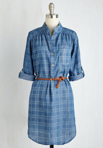 Styled All the While Tunic in Chambray Plaid
