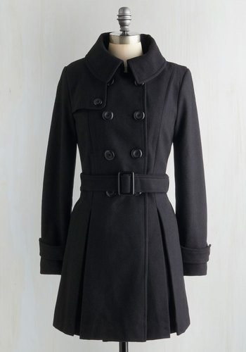 Inkwell Done Coat - Black, Solid, Buttons, Long Sleeve, Pleats, Belted, Winter, Double Breasted, Mod, 3, Long
