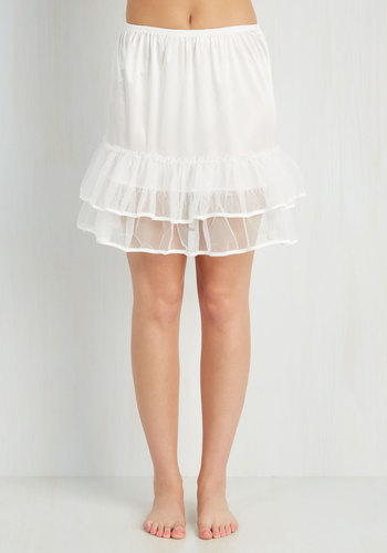Enticing Evening Half Slip in White - Sheer, Satin, Woven, White, Solid, Ruffles, Tiered, Variation, Wedding, Bride