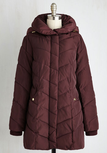 When in Roam Coat in Burgundy by Steve Madden - Red, Solid, Pockets, Quilted, Casual, Long Sleeve, Winter, Red, Tis the Season Sale, Long, 5