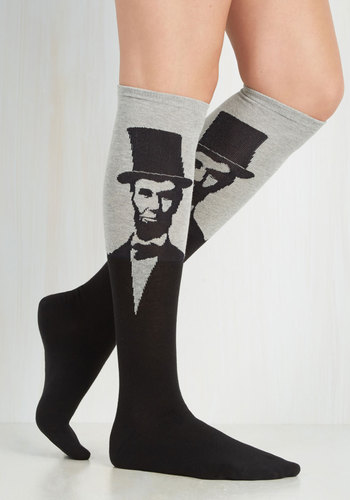 Land of Linked In Socks in Grey - Grey, Black, Quirky, Good, Knit, Novelty Print, Fall, Winter, Top Rated