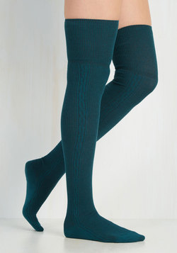All in Alcove Thigh Highs in Teal