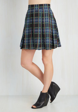 Park Movie Marathon Skirt in Blue Plaid