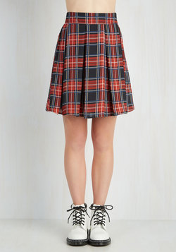 Park Movie Marathon Skirt in Red Plaid