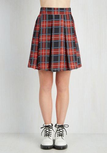 Park Movie Marathon Skirt in Red Plaid - Woven, Red, Blue, Tan / Cream, Black, Plaid, Casual, 90s, Short, Fall, Winter