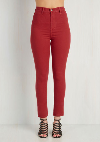 Gotta Jet Set Jeans in Red - Cotton, Woven, Red, Solid, Pockets, Casual, Pinup, Vintage Inspired, High Waist, Skinny, Denim, Variation, Fall, Valentine's, Good, Full length, Red, Colored, Denim, Ultra High Rise, Americana