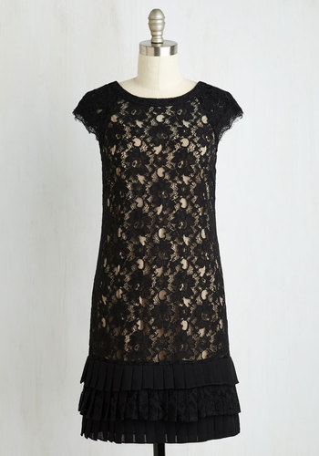 Presentation and Accounted For Dress in Black and Taupe $147.99 AT vintagedancer.com