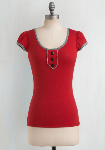 Singin' Sweetheart Top - Red, Black, White, Solid, Buttons, Trim, Casual, Cap Sleeves, Summer, Scoop, Valentine's, Red, Short Sleeve, Mid-length, Jersey, Knit, Good
