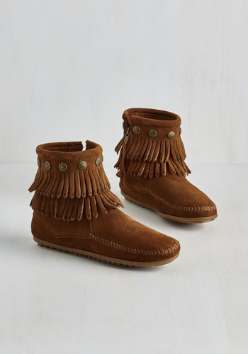 Your Very Best Fringe Bootie in Chestnut by Minnetonka - Brown, Solid, Studs, Casual, Boho, Festival, Better, Fringed, Vintage Inspired, 70s, Rustic, Fall, Winter