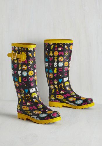 Splash of Panache Rain Boot in Emoji