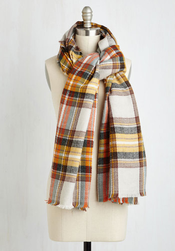 Fall Night Long Scarf in Brown - Yellow, Casual, Fall, Winter, Better, Plaid