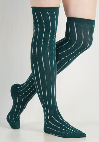 Dot and Bold Thigh Highs in Pine