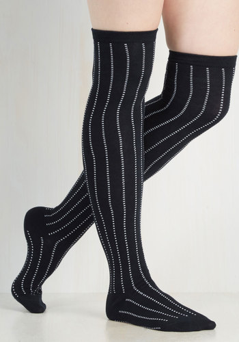 Dot and Bold Thigh Highs in Navy $14.99 AT vintagedancer.com