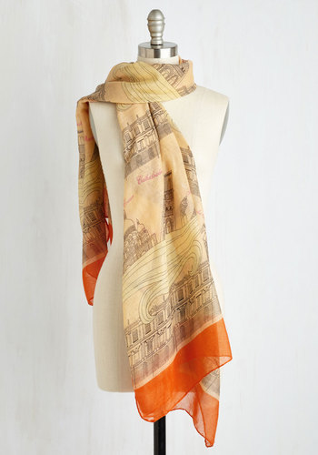 See and Be Seine Scarf - Cream, Multi, French / Victorian, Orange, Novelty Print, Fall