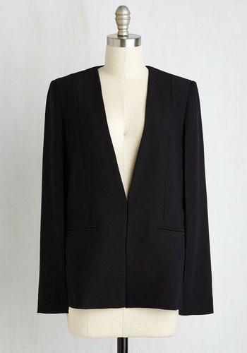 Effortless Ensemble Blazer in Black by BB Dakota - Good, Black, Woven, Black, Solid, Fall, Winter, Mid-length, Tis the Season Sale, 1