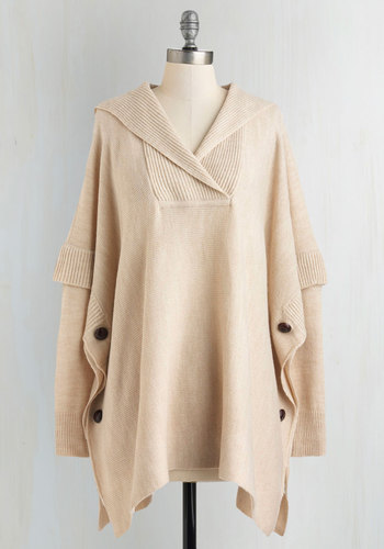 Oatmeal and About Sweater - Cream, Buttons, Casual, Tent / Trapeze, Long Sleeve, White, Long Sleeve, Knit, Winter, Mid-length