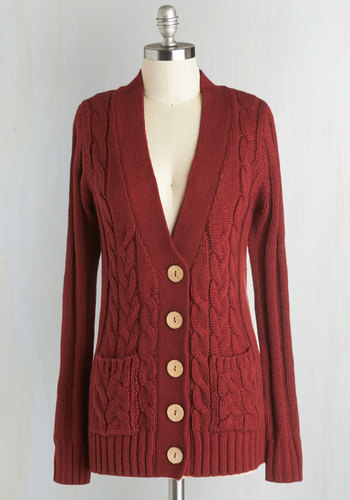 Your Fireside of the Story Cardigan in Rust - Red, Solid, Buttons, Knitted, Pockets, Scholastic/Collegiate, Long Sleeve, Casual, Better, Knit, Red, Long Sleeve, Mid-length, Tis the Season Sale, Winter