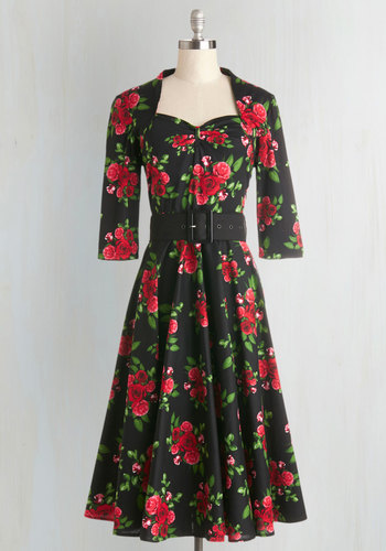 Roses at Your Feet Dress - Cotton, Woven, Red, Green, Floral, Belted, Party, A-line, 3/4 Sleeve, Better, Vintage Inspired, 40s, 50s, Sweetheart, Multi, Black, Full-Size Run, Long