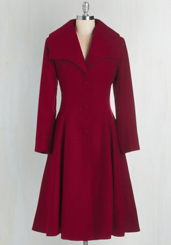 Intrigue All About it Coat in Crimson