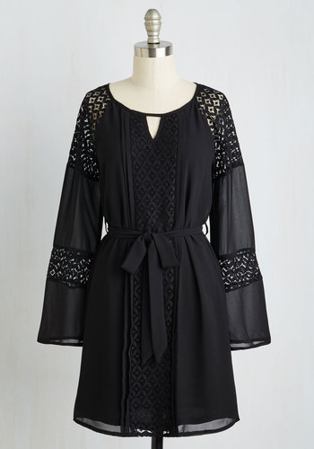 Young, Beguiled, and Free Dress - Chiffon, Woven, Black, Solid, Cutout, Lace, Belted, Casual, Boho, A-line, Long Sleeve, Good, Scoop, Mid-length