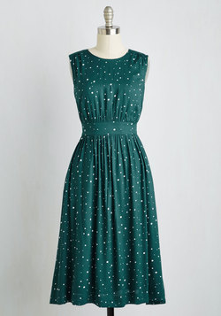 Too Much Fun Dress in Emerald Speckles - Long