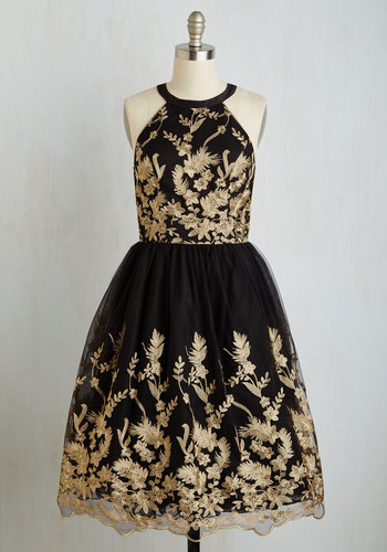 Photo Opulent Lace Dress - Black, Gold, Floral, Print, Cocktail, Homecoming, Fit & Flare, Sleeveless, Woven, Tulle, Better, Long, Prom, Party