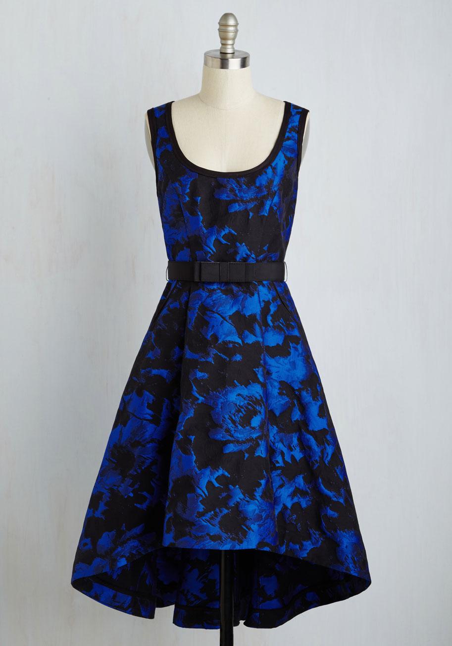 Prim Perspective Dress - Blue, Black, Print, Belted, Special Occasion ...