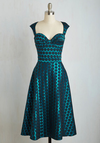 Prove Your Groove Dress in Teal Dots $119.99 AT vintagedancer.com