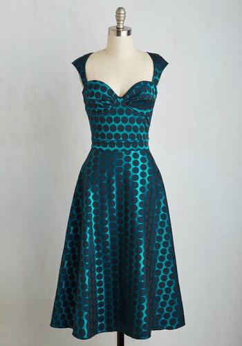 Prove Your Groove Dress in Teal Dots $119.99 AT vintagedancer.com
