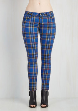 Never Plaid It So Good Pants in Cobalt - Low-Rise