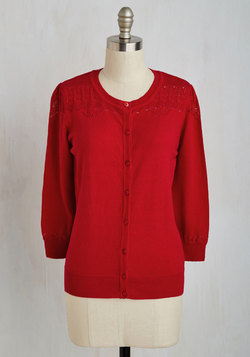 Bake-Off the Charts Cardigan in Cherry