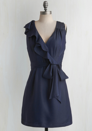 No Excuse Necessary Dress - Blue, Solid, Bows, Pleats, Ruffles, Wedding, Party, Casual, Shift, Wrap, Sleeveless, Short