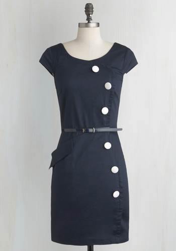 Asymmetry Grows in Brooklyn Dress - Blue, Solid, Buttons, Work, Shift, Cap Sleeves, Belted, White, Pockets, Vintage Inspired, Cotton, Mid-length