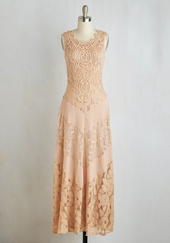 Paragon of Poise Dress - Tan, Solid, Crochet, Wedding, Bride, Maxi, Sleeveless, Better, Vintage Inspired, Scoop, 20s, Chiffon, Woven, Long, Lace, Boho, Party